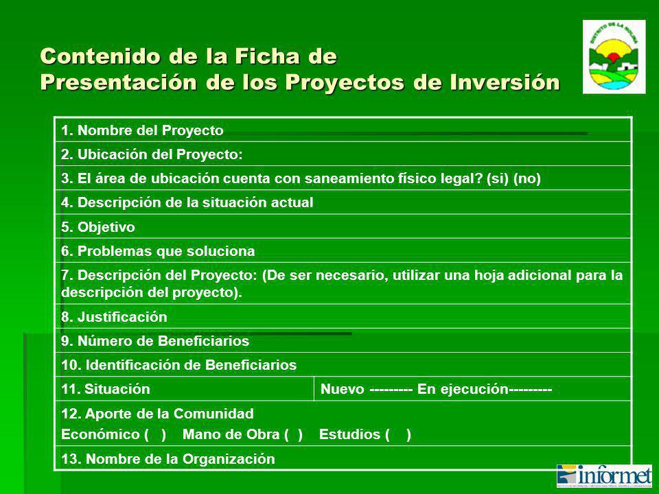 Contenido de la Ficha de Presentación de los Proyectos de Inversión 1.