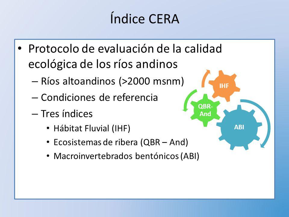 Índice CERA Protocolo de evaluación de la calidad ecológica de los ríos andinos – Ríos altoandinos (>2000 msnm) – Condiciones de referencia – Tres índ