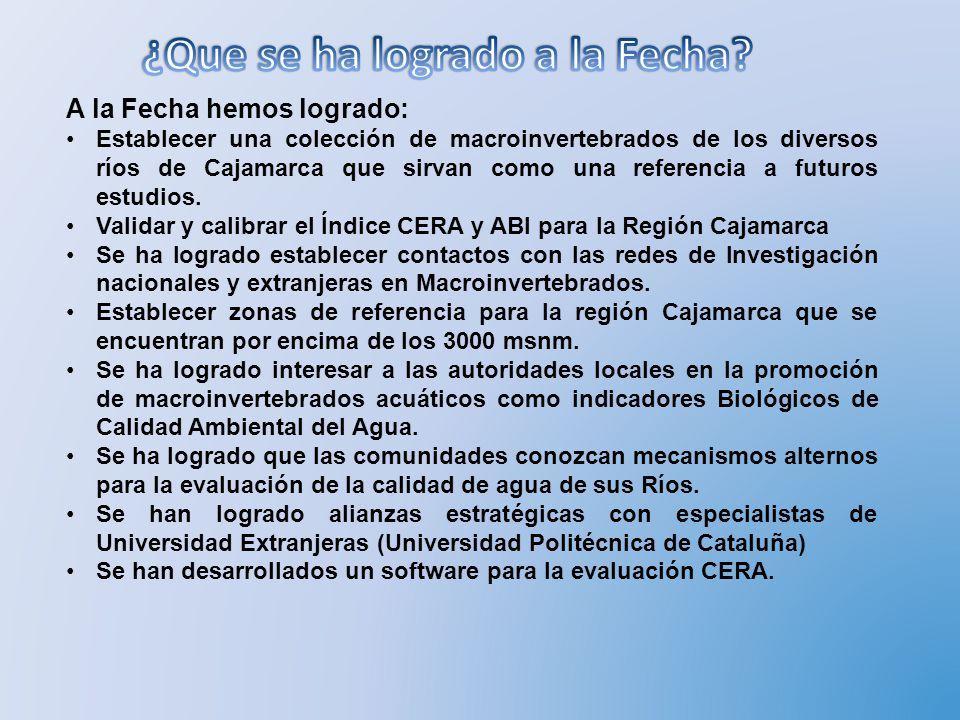 A la Fecha hemos logrado: Establecer una colección de macroinvertebrados de los diversos ríos de Cajamarca que sirvan como una referencia a futuros es