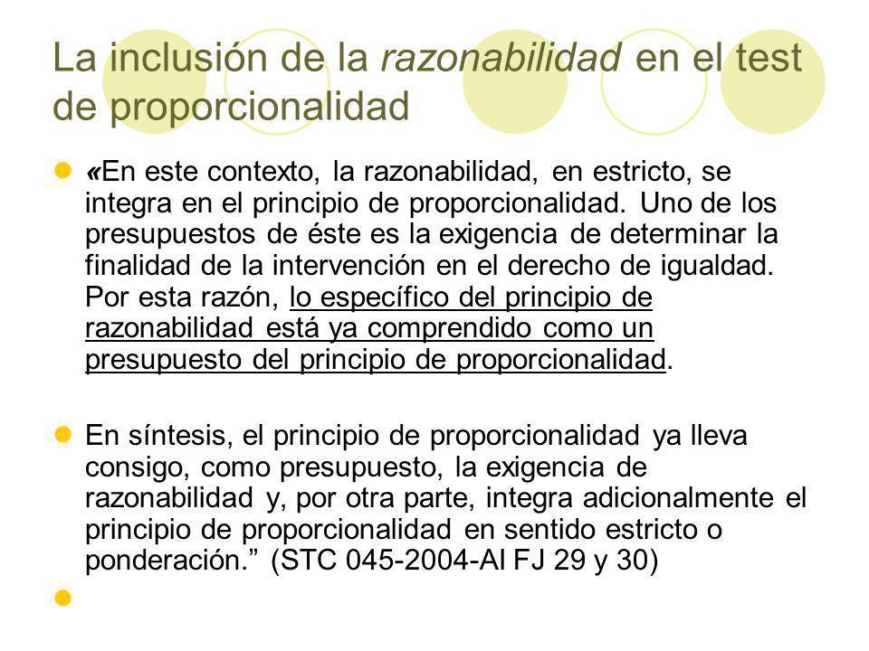 La inclusión de la razonabilidad en el test de proporcionalidad «En este contexto, la razonabilidad, en estricto, se integra en el principio de proporcionalidad.