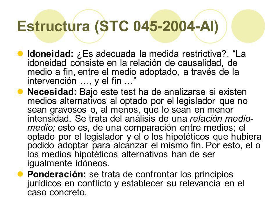 Estructura (STC 045-2004-AI) Idoneidad: ¿Es adecuada la medida restrictiva?.