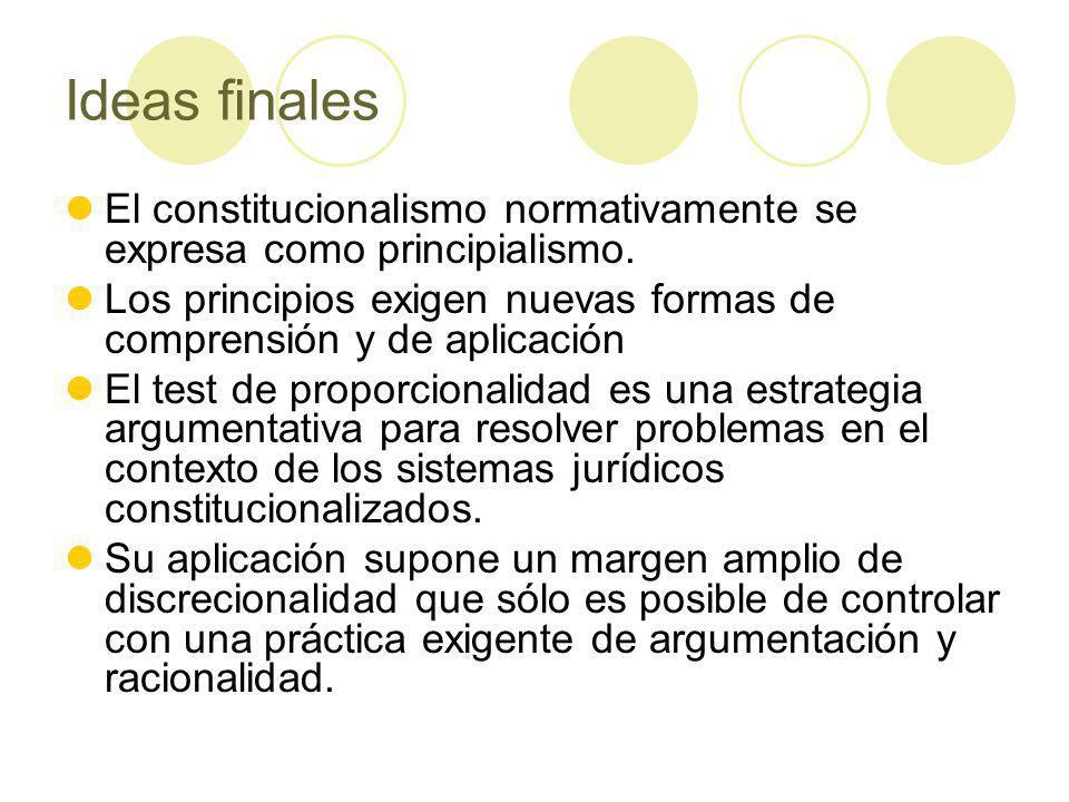 Ideas finales El constitucionalismo normativamente se expresa como principialismo.