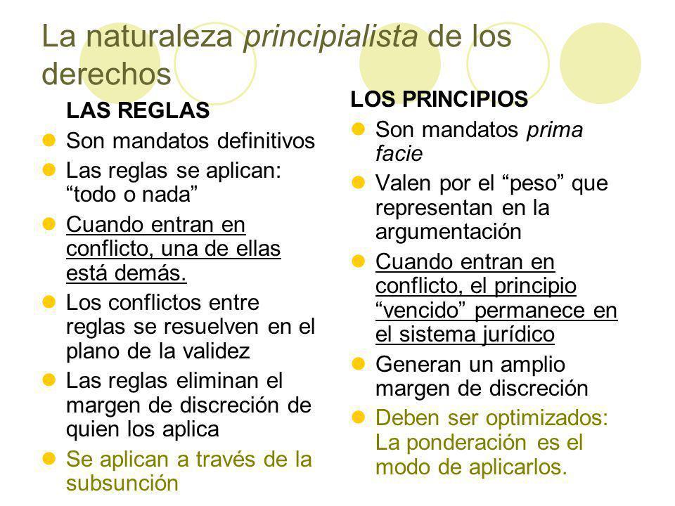 La naturaleza principialista de los derechos LAS REGLAS Son mandatos definitivos Las reglas se aplican: todo o nada Cuando entran en conflicto, una de ellas está demás.