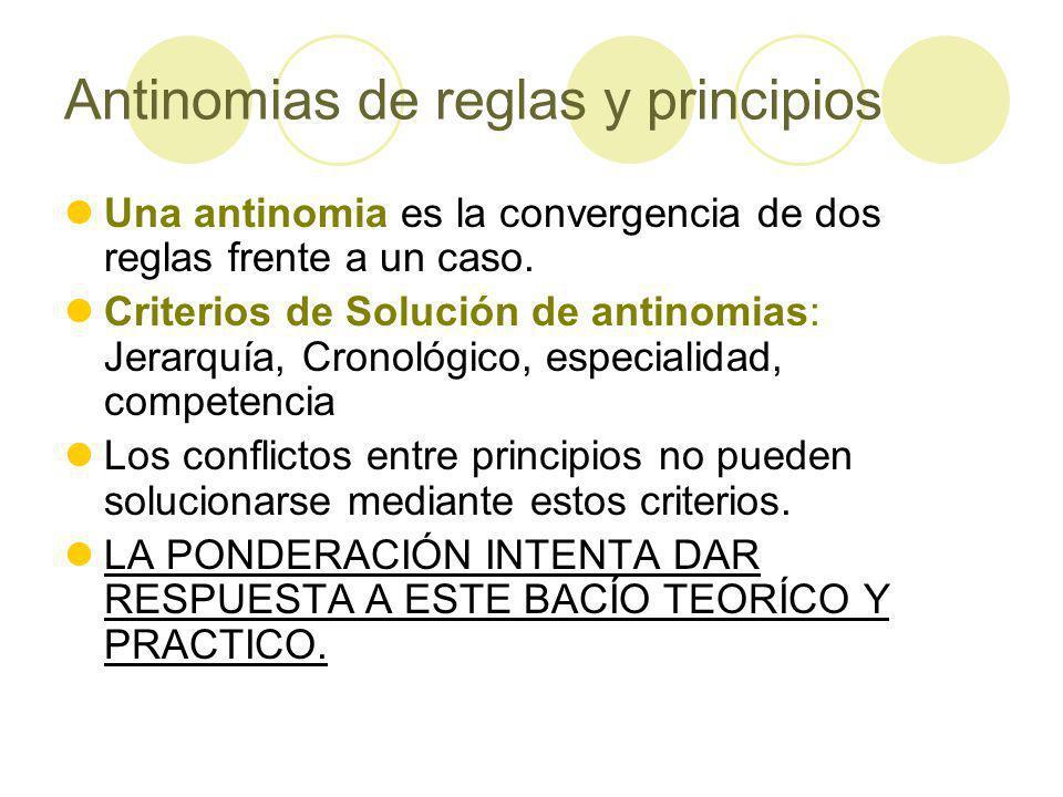 Antinomias de reglas y principios Una antinomia es la convergencia de dos reglas frente a un caso.