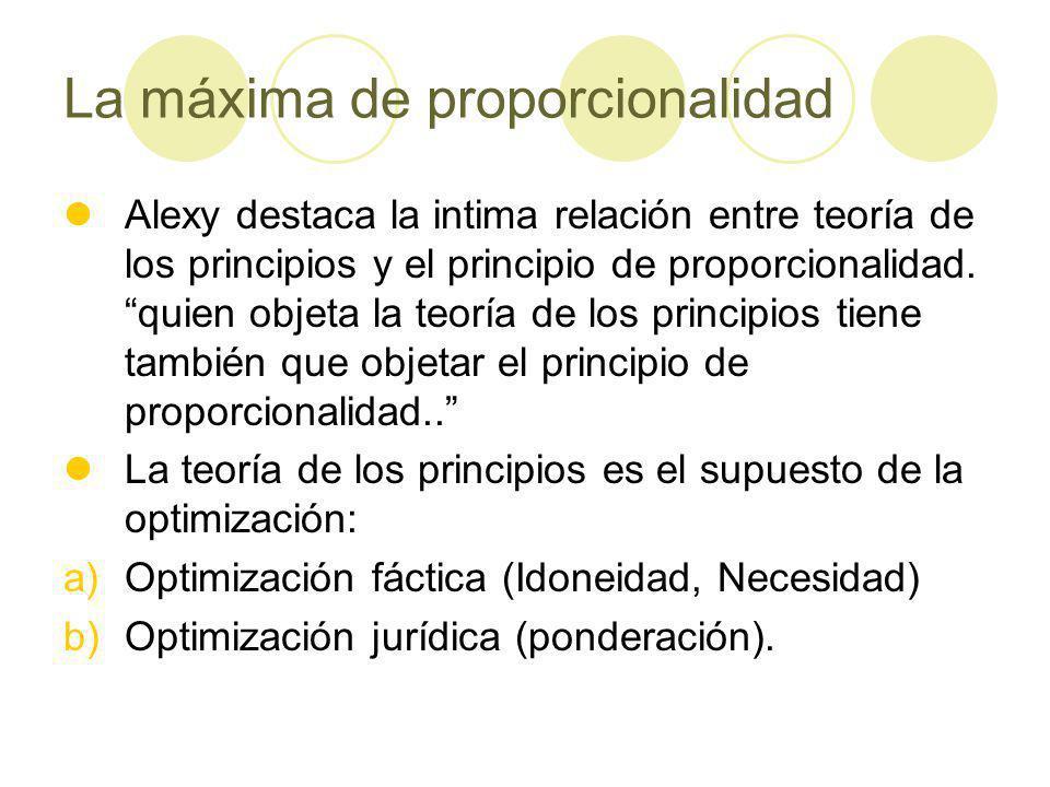La máxima de proporcionalidad Alexy destaca la intima relación entre teoría de los principios y el principio de proporcionalidad.