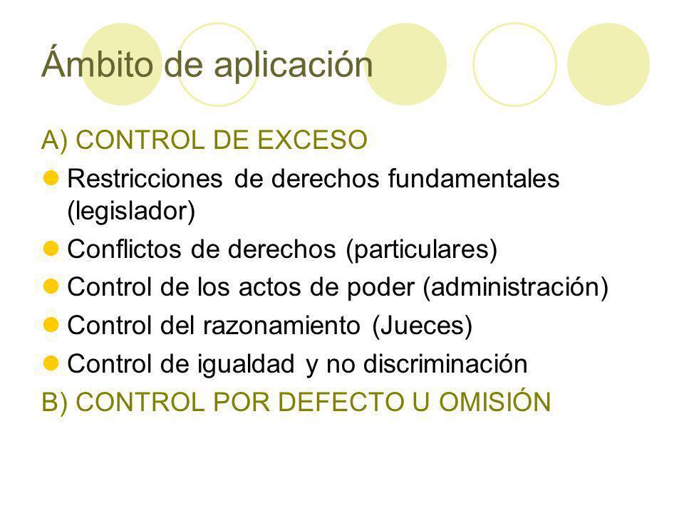 Ámbito de aplicación A) CONTROL DE EXCESO Restricciones de derechos fundamentales (legislador) Conflictos de derechos (particulares) Control de los actos de poder (administración) Control del razonamiento (Jueces) Control de igualdad y no discriminación B) CONTROL POR DEFECTO U OMISIÓN
