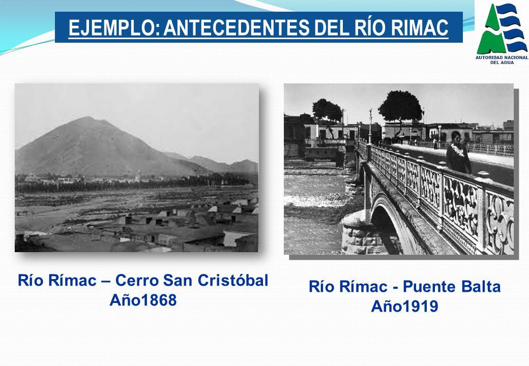 EJEMPLO: ANTECEDENTES DEL RÍO RIMAC Río Rímac - Puente Balta Año1919 Río Rímac – Cerro San Cristóbal Año1868