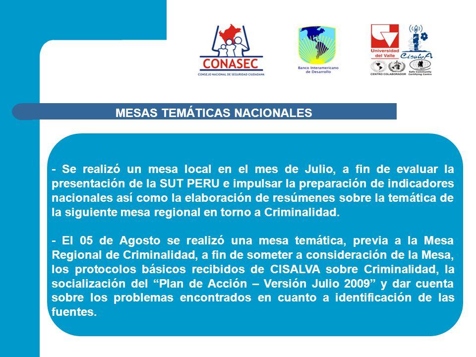 - Se realizó un mesa local en el mes de Julio, a fin de evaluar la presentación de la SUT PERU e impulsar la preparación de indicadores nacionales así como la elaboración de resúmenes sobre la temática de la siguiente mesa regional en torno a Criminalidad.