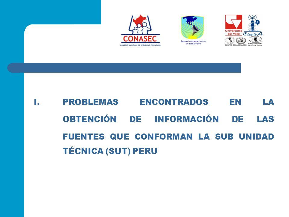 I.PROBLEMAS ENCONTRADOS EN LA OBTENCIÓN DE INFORMACIÓN DE LAS FUENTES QUE CONFORMAN LA SUB UNIDAD TÉCNICA (SUT) PERU