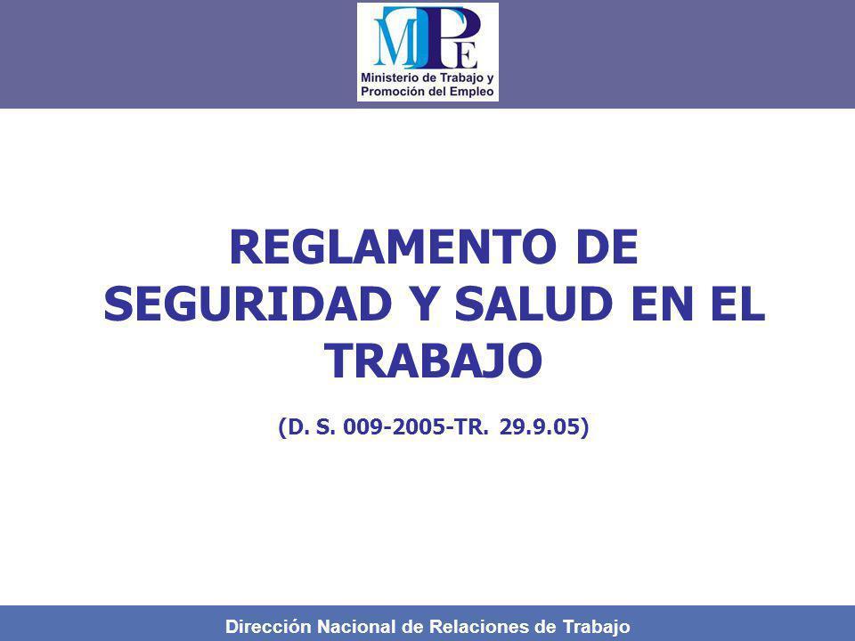 Dirección Nacional de Relaciones de Trabajo REGLAMENTO DE SEGURIDAD Y SALUD EN EL TRABAJO (D. S. 009-2005-TR. 29.9.05)