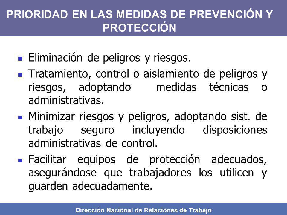 Dirección Nacional de Relaciones de Trabajo Eliminación de peligros y riesgos. Tratamiento, control o aislamiento de peligros y riesgos, adoptando med