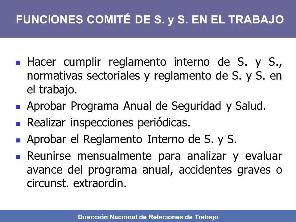 Dirección Nacional de Relaciones de Trabajo Hacer cumplir reglamento interno de S. y S., normativas sectoriales y reglamento de S. y S. en el trabajo.