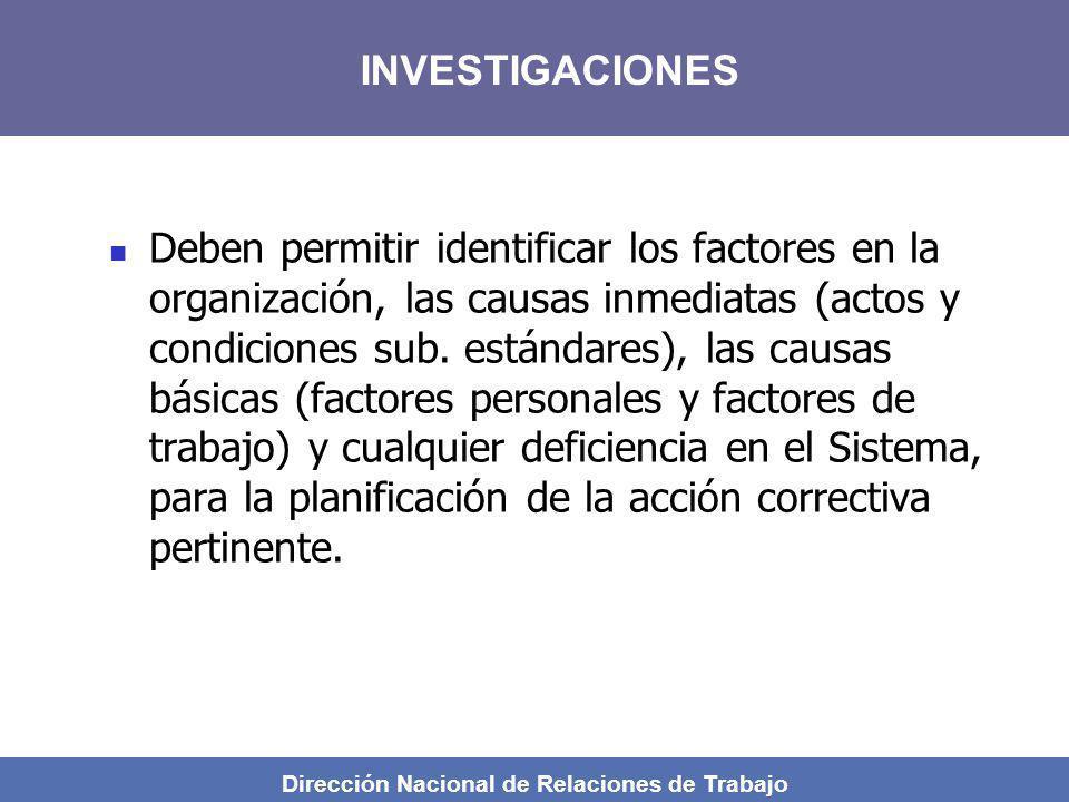 Dirección Nacional de Relaciones de Trabajo Deben permitir identificar los factores en la organización, las causas inmediatas (actos y condiciones sub