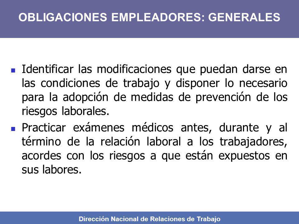 Dirección Nacional de Relaciones de Trabajo Identificar las modificaciones que puedan darse en las condiciones de trabajo y disponer lo necesario para