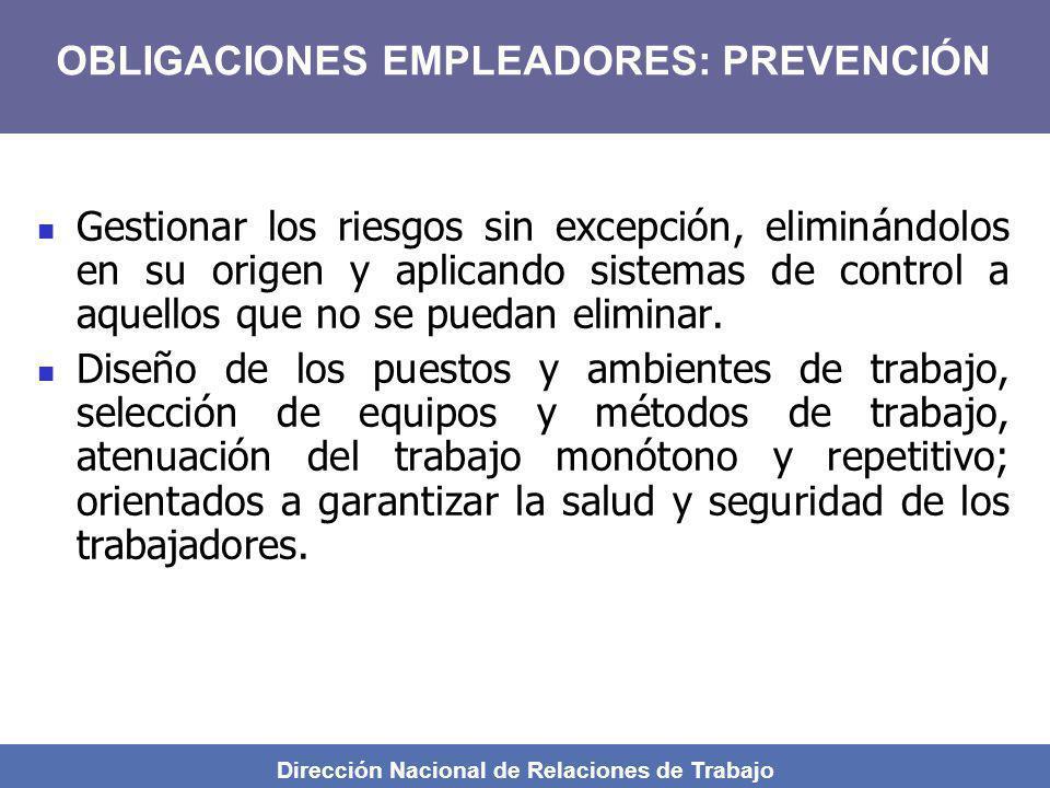 Dirección Nacional de Relaciones de Trabajo Gestionar los riesgos sin excepción, eliminándolos en su origen y aplicando sistemas de control a aquellos