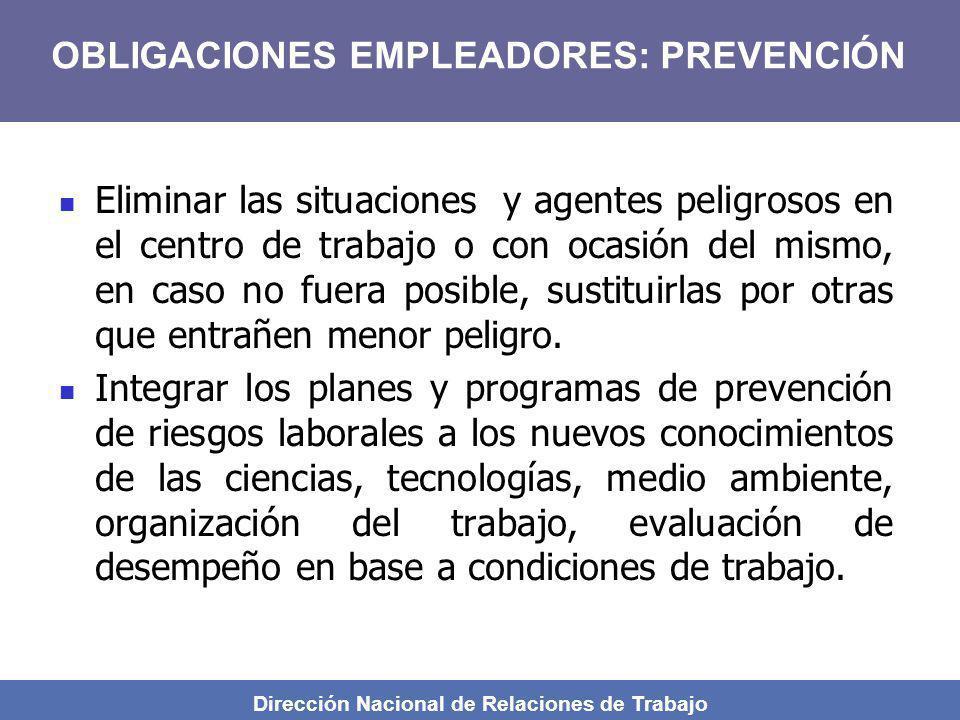 Dirección Nacional de Relaciones de Trabajo Eliminar las situaciones y agentes peligrosos en el centro de trabajo o con ocasión del mismo, en caso no