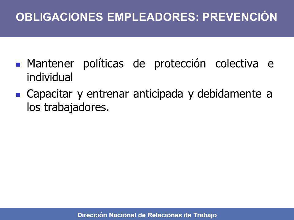 Dirección Nacional de Relaciones de Trabajo Mantener políticas de protección colectiva e individual Capacitar y entrenar anticipada y debidamente a lo