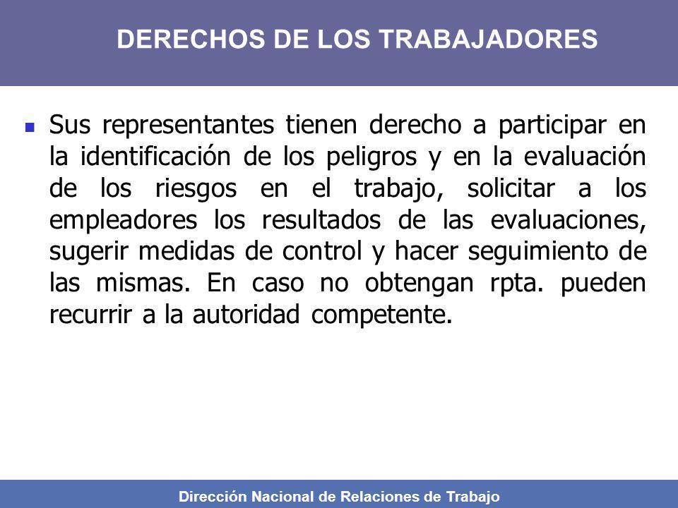 Dirección Nacional de Relaciones de Trabajo Sus representantes tienen derecho a participar en la identificación de los peligros y en la evaluación de