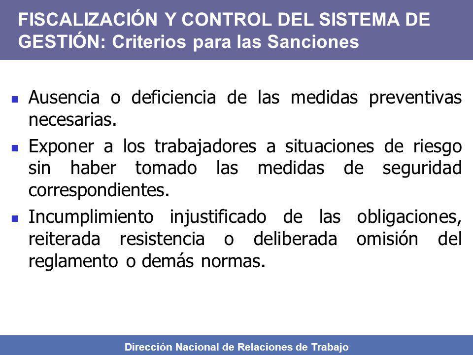 Dirección Nacional de Relaciones de Trabajo Ausencia o deficiencia de las medidas preventivas necesarias. Exponer a los trabajadores a situaciones de