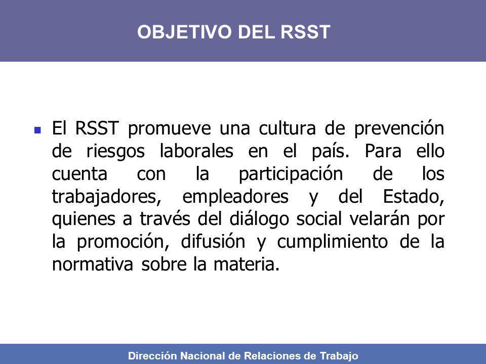 Dirección Nacional de Relaciones de Trabajo El RSST promueve una cultura de prevención de riesgos laborales en el país. Para ello cuenta con la partic