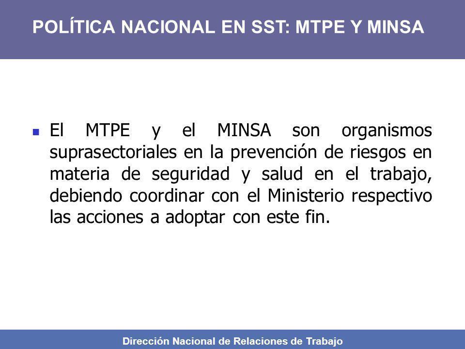 Dirección Nacional de Relaciones de Trabajo El MTPE y el MINSA son organismos suprasectoriales en la prevención de riesgos en materia de seguridad y s