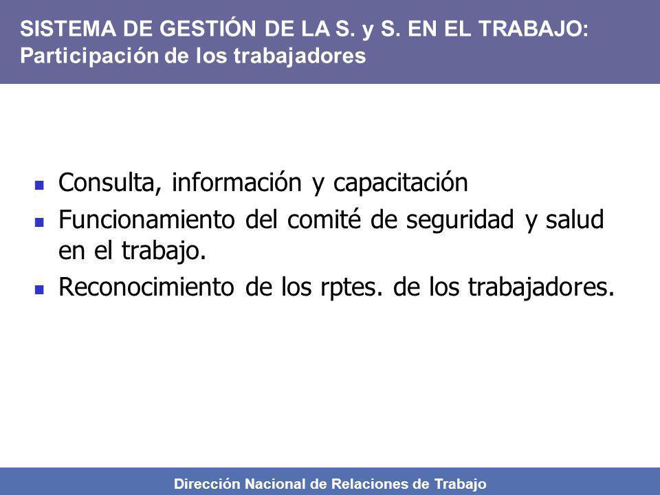 Dirección Nacional de Relaciones de Trabajo Consulta, información y capacitación Funcionamiento del comité de seguridad y salud en el trabajo. Reconoc