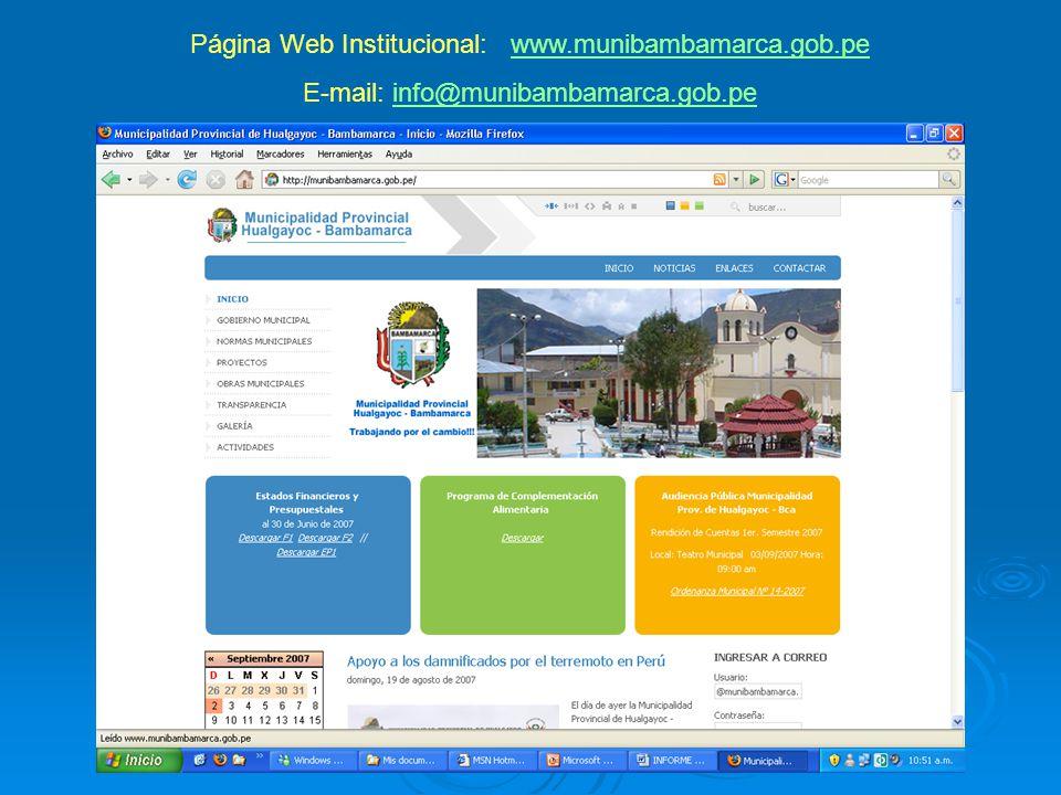Página Web Institucional: www.munibambamarca.gob.pewww.munibambamarca.gob.pe E-mail: info@munibambamarca.gob.peinfo@munibambamarca.gob.pe