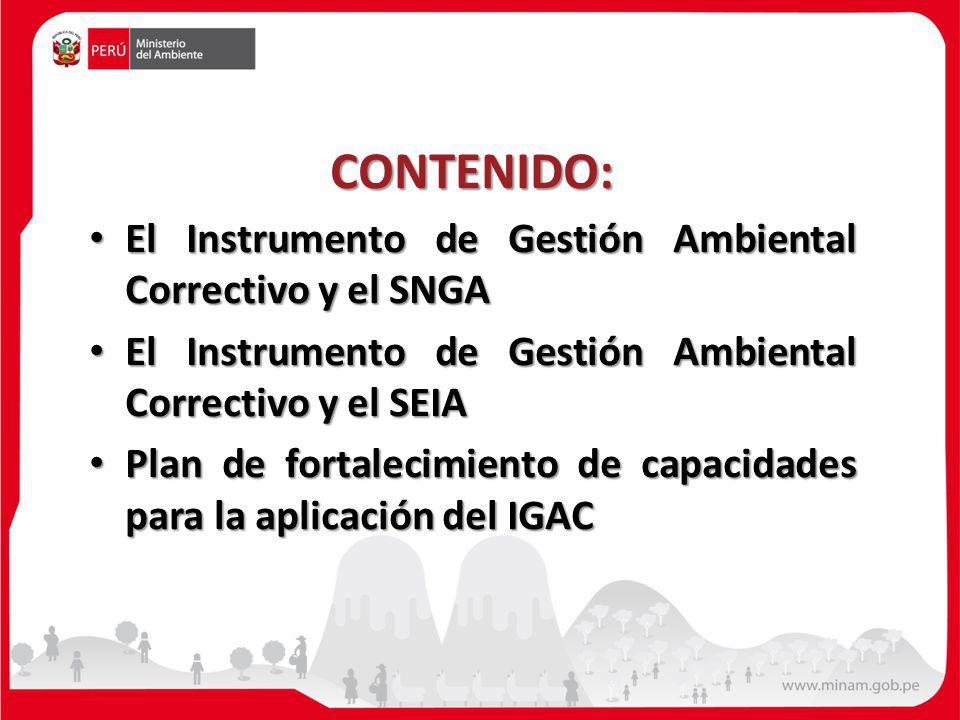 CONTENIDO: El Instrumento de Gestión Ambiental Correctivo y el SNGA El Instrumento de Gestión Ambiental Correctivo y el SNGA El Instrumento de Gestión Ambiental Correctivo y el SEIA El Instrumento de Gestión Ambiental Correctivo y el SEIA Plan de fortalecimiento de capacidades para la aplicación del IGAC Plan de fortalecimiento de capacidades para la aplicación del IGAC