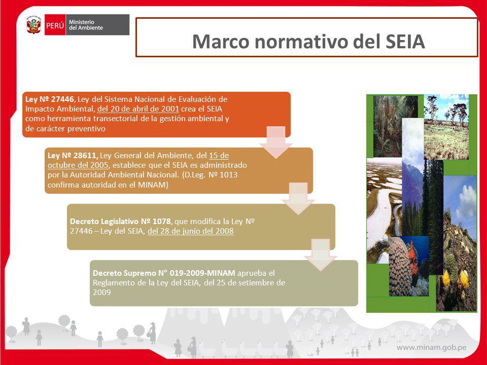 Marco normativo del SEIA Ley Nº 27446, Ley del Sistema Nacional de Evaluación de Impacto Ambiental, del 20 de abril de 2001 crea el SEIA como herramie