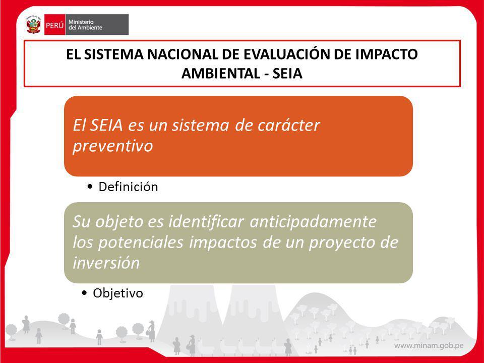 EL SISTEMA NACIONAL DE EVALUACIÓN DE IMPACTO AMBIENTAL - SEIA El SEIA es un sistema de carácter preventivo Definición Su objeto es identificar anticipadamente los potenciales impactos de un proyecto de inversión Objetivo