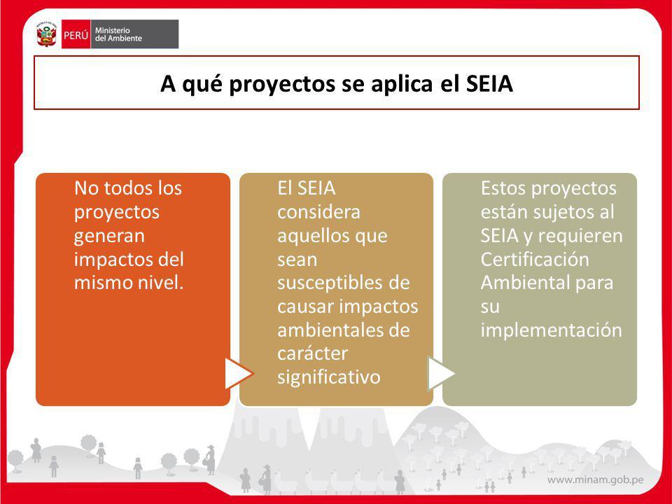 A qué proyectos se aplica el SEIA No todos los proyectos generan impactos del mismo nivel. El SEIA considera aquellos que sean susceptibles de causar
