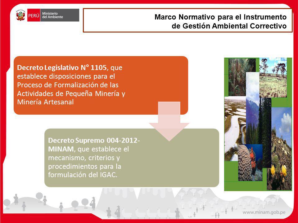 Marco Normativo para el Instrumento de Gestión Ambiental Correctivo Decreto Legislativo N° 1105, que establece disposiciones para el Proceso de Formal