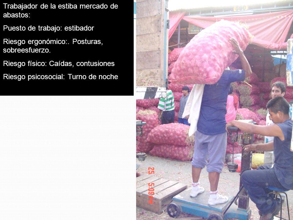 Trabajador de la estiba mercado de abastos: Puesto de trabajo: estibador Riesgo ergonómico:. Posturas, sobreesfuerzo. Riesgo físico: Caídas, contusion