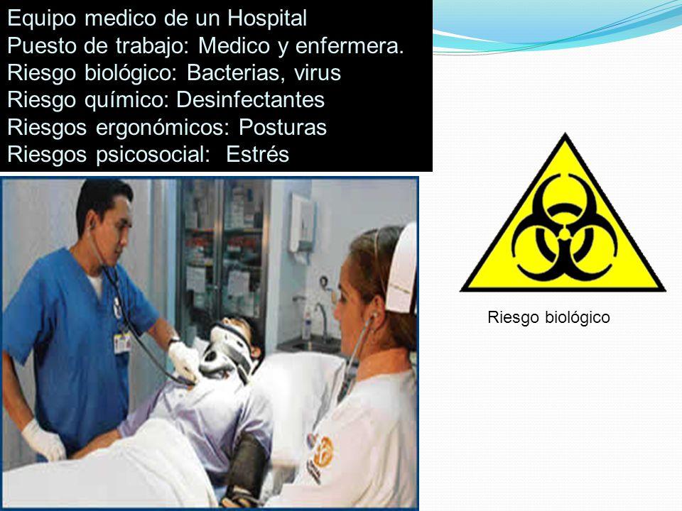 Equipo medico de un Hospital Puesto de trabajo: Medico y enfermera. Riesgo biológico: Bacterias, virus Riesgo químico: Desinfectantes Riesgos ergonómi