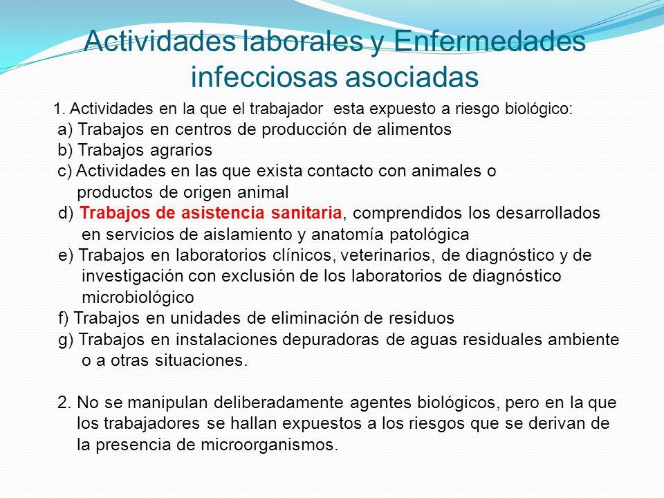Actividades laborales y Enfermedades infecciosas asociadas 1. Actividades en la que el trabajador esta expuesto a riesgo biológico: a) Trabajos en cen