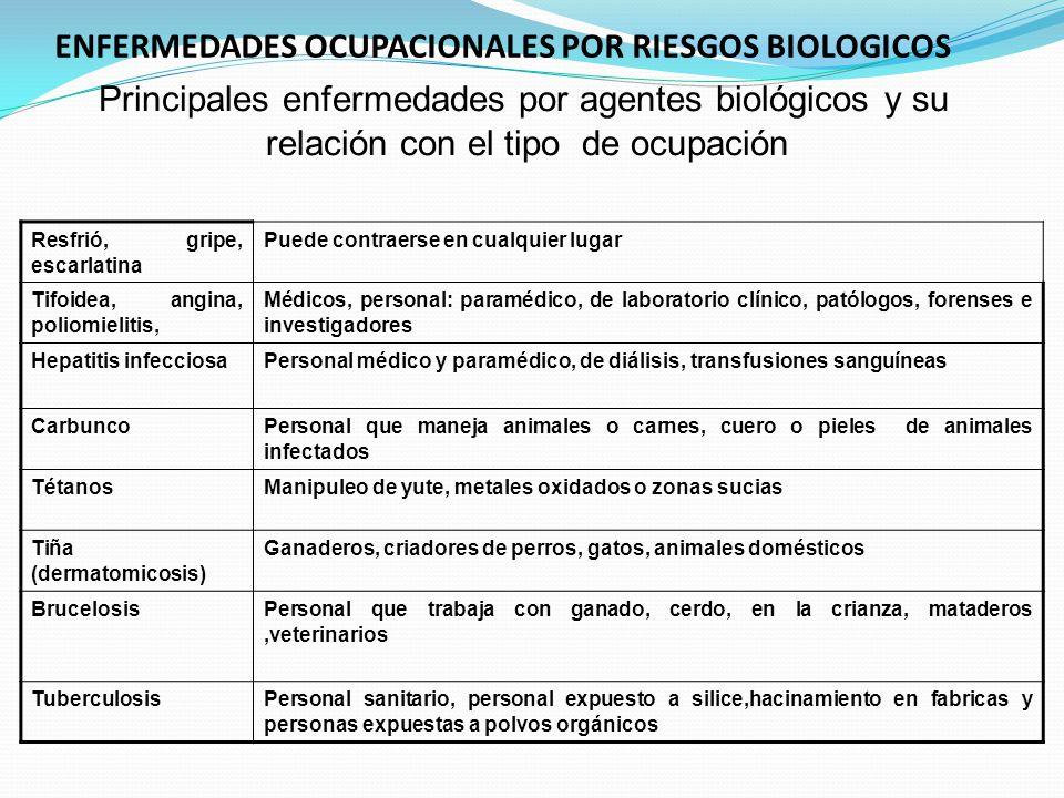 ENFERMEDADES OCUPACIONALES POR RIESGOS BIOLOGICOS Principales enfermedades por agentes biológicos y su relación con el tipo de ocupación Resfrió, grip