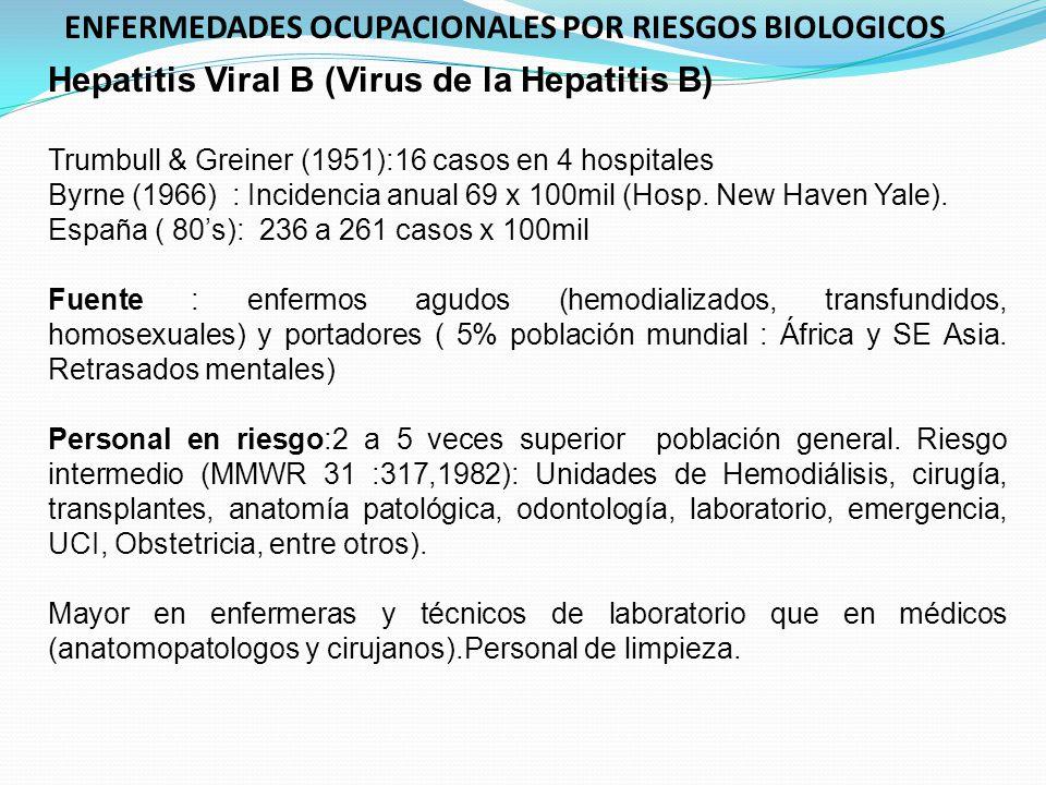 Hepatitis Viral B (Virus de la Hepatitis B) Trumbull & Greiner (1951):16 casos en 4 hospitales Byrne (1966) : Incidencia anual 69 x 100mil (Hosp. New