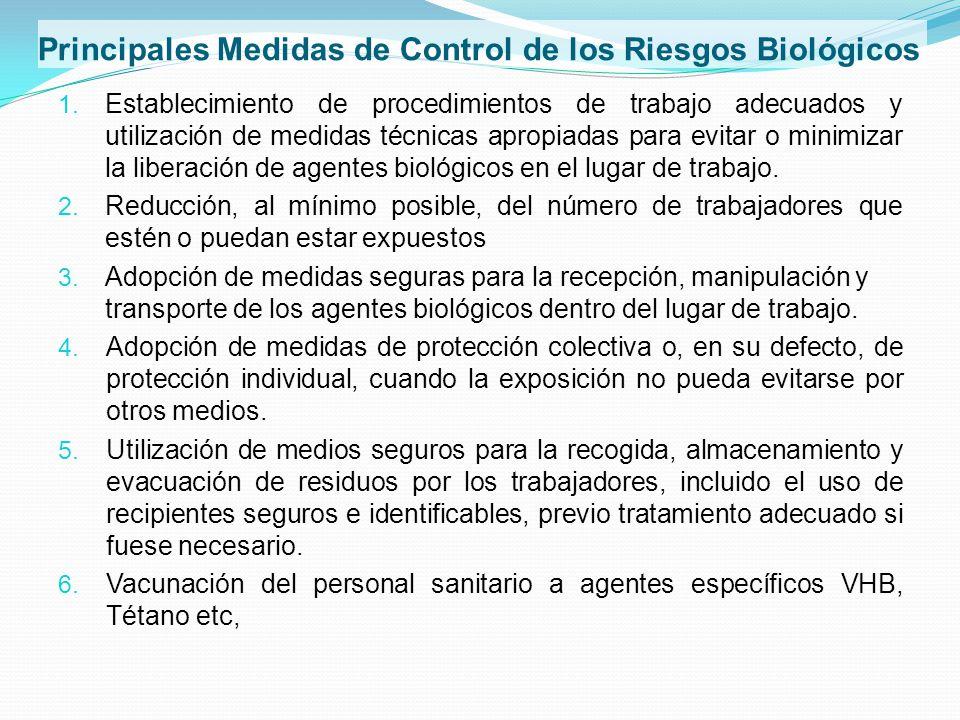 Principales Medidas de Control de los Riesgos Biológicos 1. Establecimiento de procedimientos de trabajo adecuados y utilización de medidas técnicas a