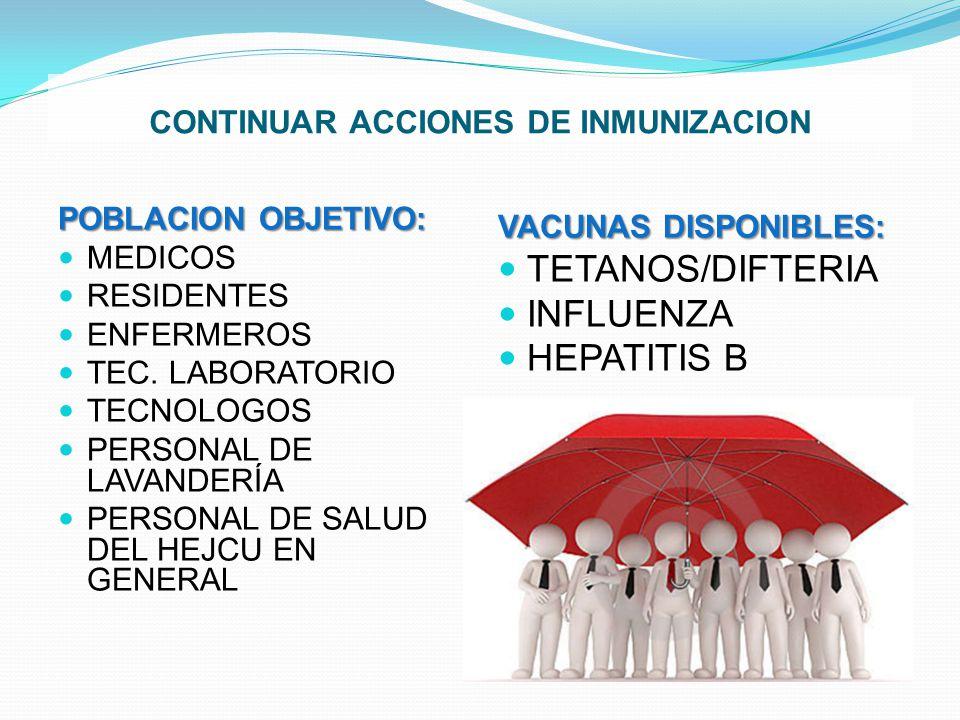 CONTINUAR ACCIONES DE INMUNIZACION POBLACION OBJETIVO: MEDICOS RESIDENTES ENFERMEROS TEC. LABORATORIO TECNOLOGOS PERSONAL DE LAVANDERÍA PERSONAL DE SA