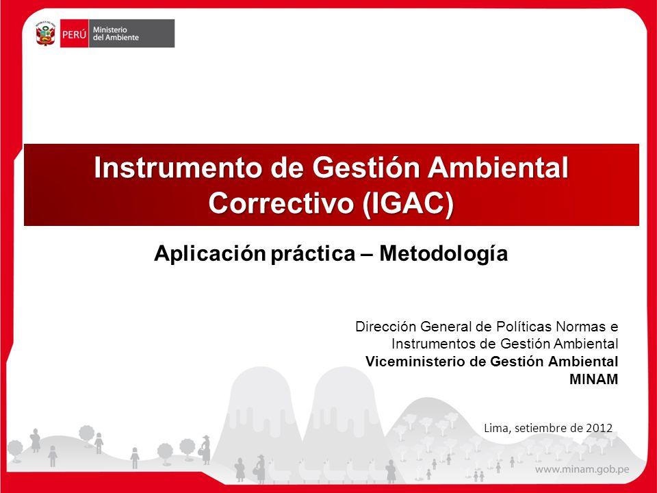 Instrumento de Gestión Ambiental Correctivo (IGAC) Dirección General de Políticas Normas e Instrumentos de Gestión Ambiental Viceministerio de Gestión Ambiental MINAM Lima, setiembre de 2012 Aplicación práctica – Metodología
