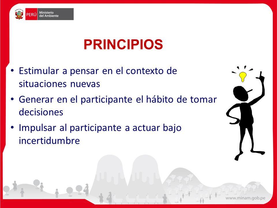 PRINCIPIOS Estimular a pensar en el contexto de situaciones nuevas Generar en el participante el hábito de tomar decisiones Impulsar al participante a actuar bajo incertidumbre