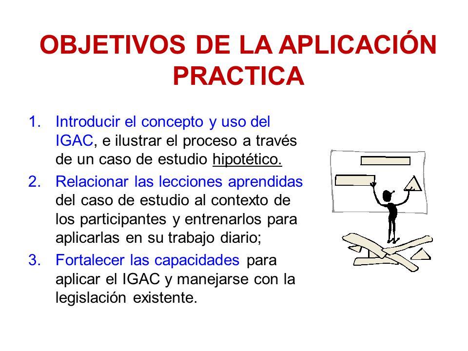 OBJETIVOS DE LA APLICACIÓN PRACTICA 1.Introducir el concepto y uso del IGAC, e ilustrar el proceso a través de un caso de estudio hipotético. 2.Relaci