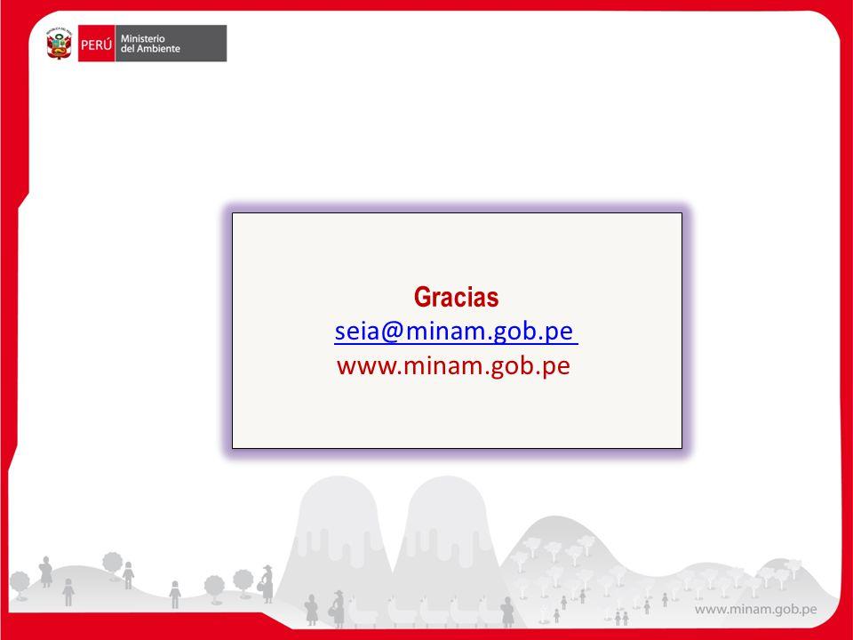 Gracias seia@minam.gob.pe www.minam.gob.pe Gracias seia@minam.gob.pe www.minam.gob.pe