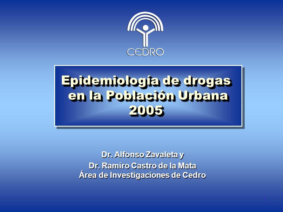 1 Epidemiología de drogas en la Población Urbana 2005 Dr. Alfonso Zavaleta y Dr. Ramiro Castro de la Mata Área de Investigaciones de Cedro