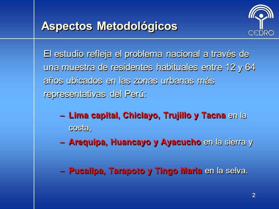 13 Monoconsumo y Policonsumo (Perú 2005) Consumo de drogas ilegales Porcentaje Consumió al menos una droga ilegal 13,8 Monoconsumo 8,5 Policonsumo 5,3 No consumió drogas ilegales 86,2 Total 100,0
