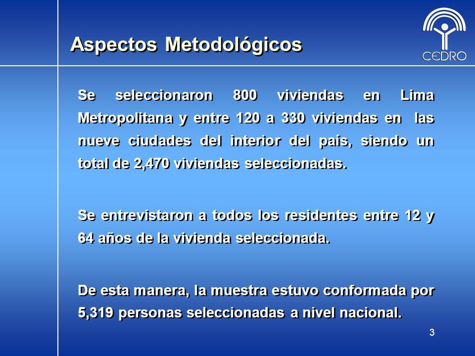 3 Se seleccionaron 800 viviendas en Lima Metropolitana y entre 120 a 330 viviendas en las nueve ciudades del interior del país, siendo un total de 2,4