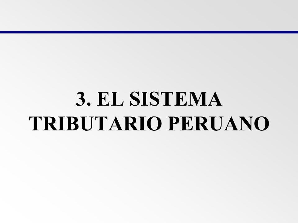 EL SISTEMA TRIBUTARIO PERUANO El sistema tributario peruano se desenvuelve dentro del marco conceptual que le brinda el Derecho Tributario, el Código Tributario y la Ley Penal Tributaria y se materializa a través del cobro de impuestos, contribuciones y tasas que constituyen ingresos tributarios de los diferentes niveles de gobierno.