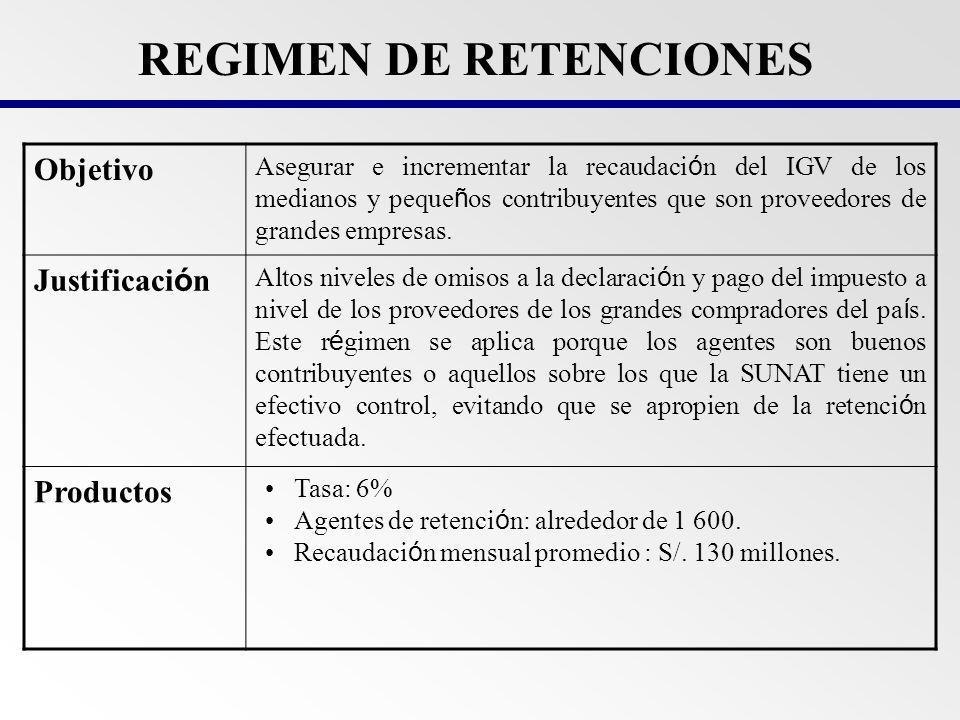 Objetivo Asegurar el pago del IGV en la etapa de la cadena de comercializaci ó n minorista.