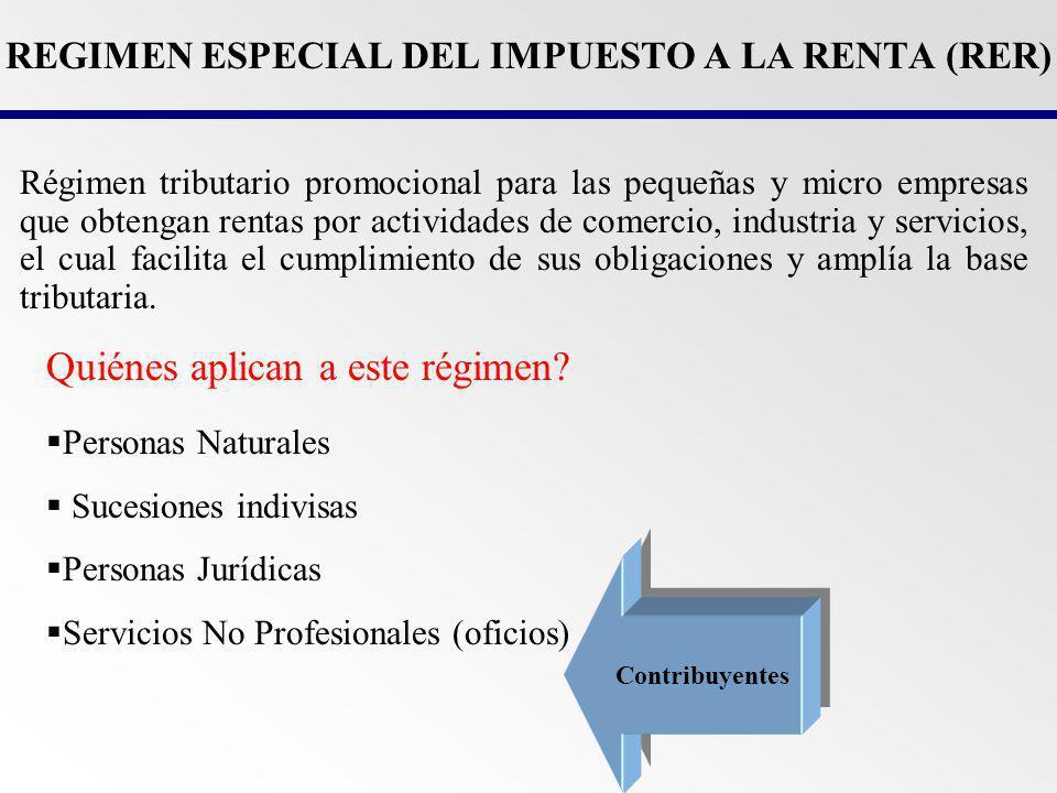 TASAS IMPOSITIVAS - RER a)Realización Exclusiva de Actividades de Comercio y/o Industria: 2,5 % de sus ingresos netos mensuales.