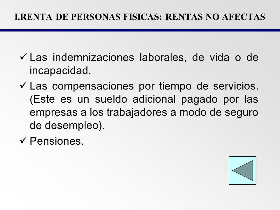 I.RENTA DE PERSONAS FISICAS: RENTAS EXONERADAS Rendimientos de capital (Intereses por depósitos bancarios, de valores mobiliarios de empresas domiciliadas).